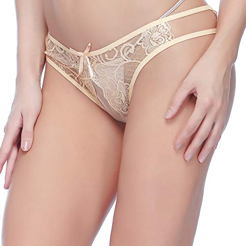 Aeakey Open Crotch Underwear Sexy Lace G-String Thong Panties Sexy Lingerie Underwear (Skin)