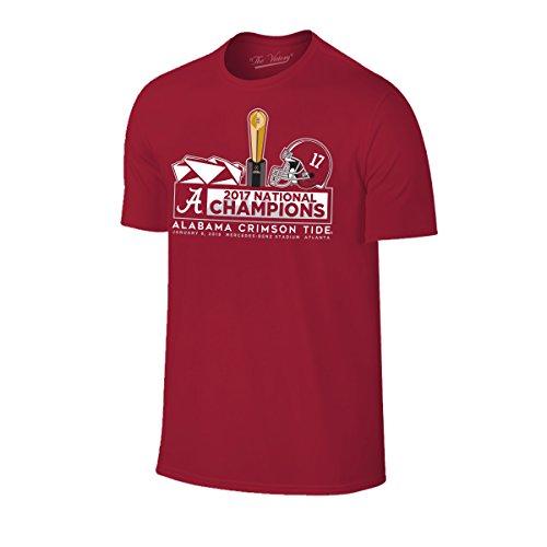 Alabama Crimson Tide Football Playoff Champions 2018 T Shirt - X-Large - Cardinal