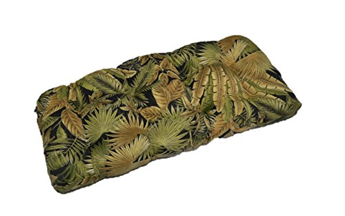 indoor-outdoor-cushion-for-wicker-loveseat-settee-tommy-bahama-black-green-tan-tropical-palm-leaf-ba