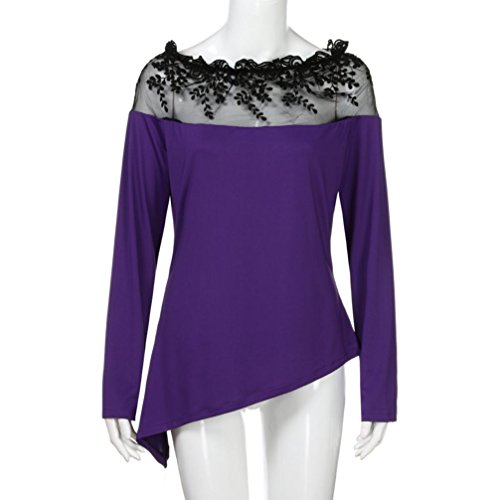 Routinfly Violet Femme Courtes Solid Chemisier Dcontract Manches AYZTAr8