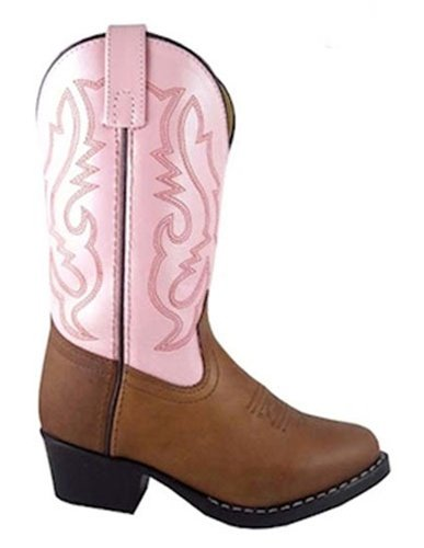 Smoky Mountain Girls Denver Leather Cowboy Boots Brown Distress/Pink