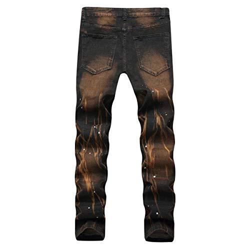 Blackyellow Elasticizzati Jeans Vita Pantaloni Skinny Denim Casual Alta Tagliati Da Uomo Moderna A Haidean O4qBnZg
