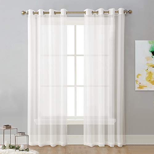NICETOWN Sheer Curtain Panels Ivory - Eyelet Top Solid Voile for Kitchen/Hotel, Off White=Ivory, 2 Pieces, 54 Wide x 84 inches Length,Ivory (White Off Sheers Window)