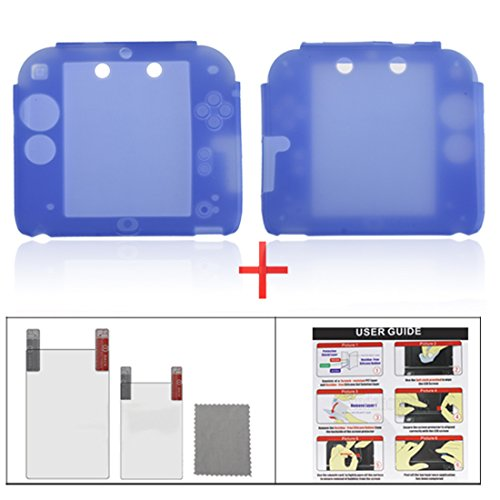 YUYIKES Protective Soft Silicone Skin Case Cover Shell for Nintendo 2DS + Clear LCD Screen Protector (Blue) ()