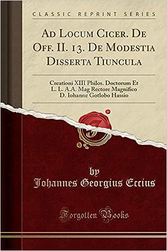 Ad Locum Cicer  De Off  II  13  De Modestia Disserta