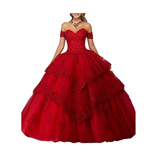 Yang New Sweetheart Girls 16 Quinceanera Dress Appliques Beaded Ball Gowns 2 US Red