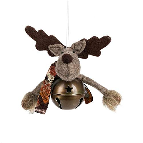Midwest-CBK Reindeer Bell Bronze Tone 5 inch Metal Polyester Christmas Figurine Ornament