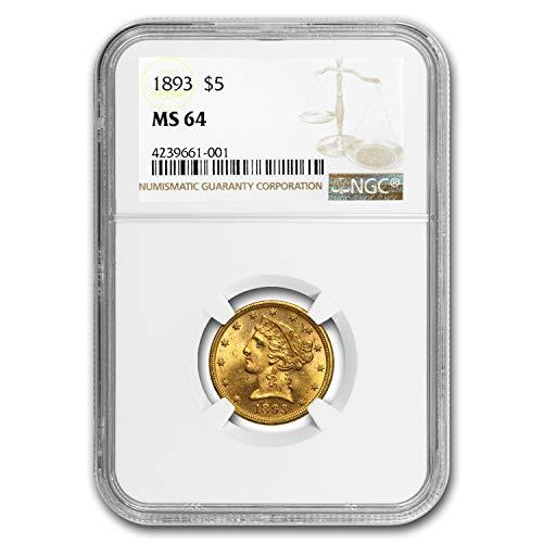 1893 $5 Liberty Gold Half Eagle MS-64 NGC G$5 MS-64 NGC