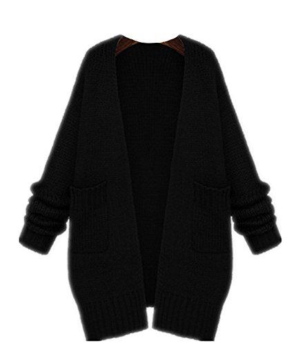 YOGLY Dames Corenne Cardigan Manteau Tricot Chale Manches  chauve-souris Pull Chandail Oversize Sweater 3 Couleur: Beige / Kaki / Pink Noir