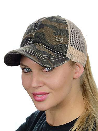 - C.C Ponycap Messy High Bun Ponytail Adjustable Mesh Trucker Baseball Cap Hat, Camo Olive