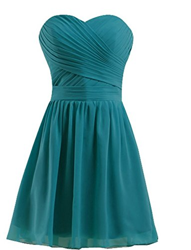 Lorderqueen Women's Simple Homecoming Sweetheart Neck Short Bridesmaid Dress Teal US6 (After Six Stretch Bridesmaid Dress)