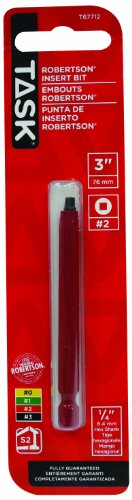 (Task Tools T67712 3-Inch Robertson Screwdriver Power Insert Bit,  Number-2 Red)