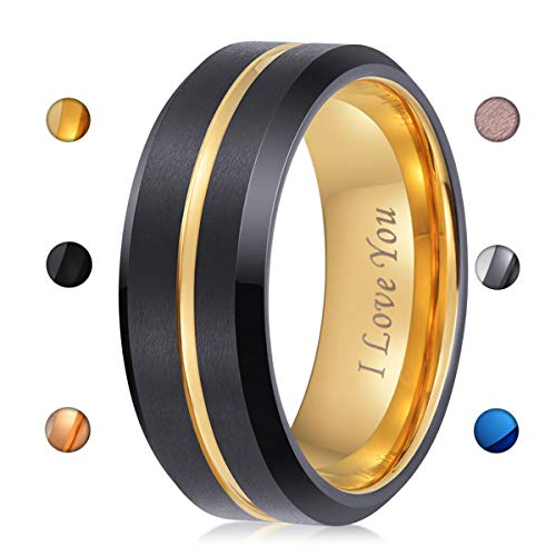 LaurieCinya Tungsten Carbide Ring Men Women Wedding Band Engagement Ring 8mm Comfort Fit Engraved 'I Love You' Gold ()