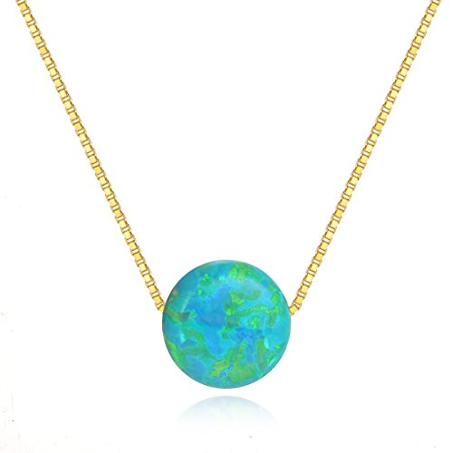 Green Blue Created Opal Necklace Dot Necklace Sterling Silver White Gold Plated Round Necklace Necklaces for Women Gifts for Wife Girlfriend Anniversary Gifts for Her Valentine's Day Gifts For -