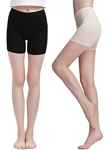 Boy Yoga Short (Vinconie Women Short Leggings Under Dress Pants Yoga Tights Boy Shorts 2 Pack)