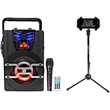 Technical Pro WASP420 Bluetooth Karaoke Machine System w/LED's+Mic+Tablet Stand
