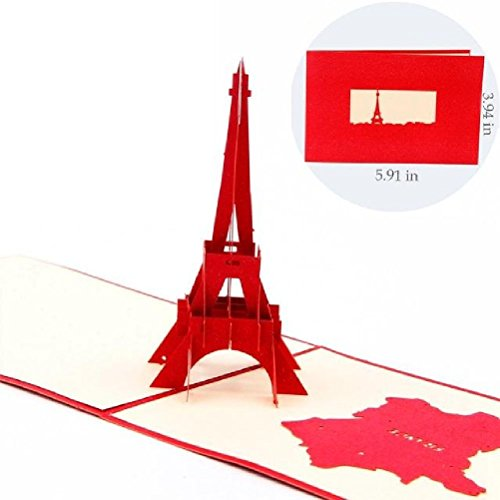 Heliyan Cards Eiffel Tower Handmade Creative Kirigami & Origami 3D Pop Up Greeting & Gift Cards
