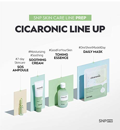 SNP PREP - Cicaronic Essence Daily Korean Sheet Mask - Soothing & Calming Effects for All Sensitive Skin Types with Hyaluronic Acid & Centella Asiatica - 10 Sheets