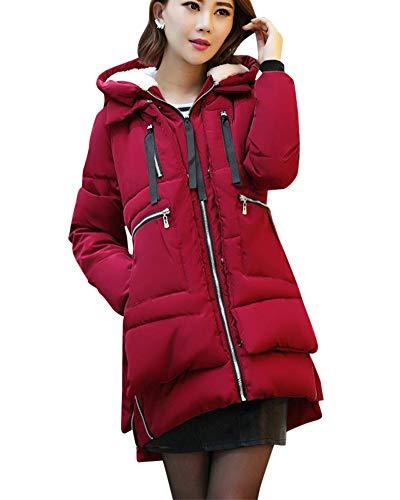De Doudoune Jujube Rouge Capuche Loisirs Femme Manteau Grande Hiver Coton Veste Chaleur Et Taille paissir 4qBvdTU