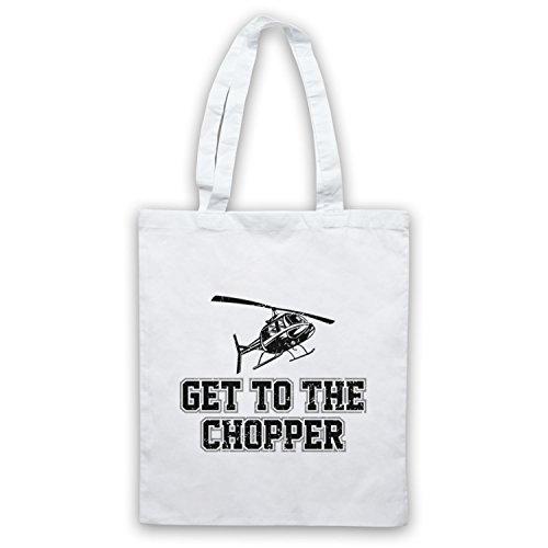 Get To The Chopper Funny Arnie Slogan Bolso Blanco