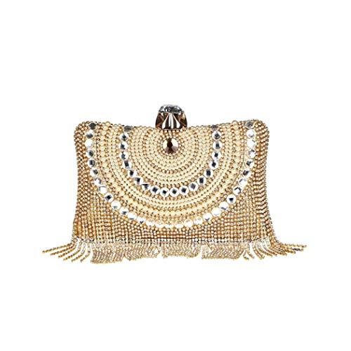 Leather Bag Shoulder Beaded (Puedo Women\'s Vintage Beaded Sequined Tassel Evening Bag Wedding Party Handbag Clutch Purse Crossbody Shoulder Bag (Gold))