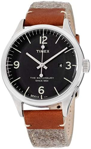 Timex The Waterbury Black Dial Leather Strap Men s Watch