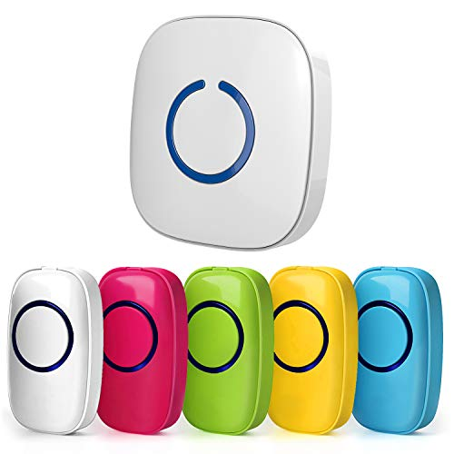 SadoTech Model C Classroom Wireless Doorbell - Answer Buzzer Operating at over 1000-feet Range with Over 50 Chimes, White Receiver + 5 Colored Buttons (Red, White, Blue, Green, Yellow) -