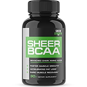 Sheer Strength Labs BCAA Capsules – Extra Strength 1,950mg Branched Chain Amino Acids Muscle Building Post Workout Supplement, 90 Easy-Swallow Veggie Caps, 30 Day Supply