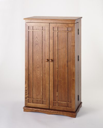 Leslie Dame CD-612 Solid Oak Multimedia Storage Cabinet with Classic Mission Style Doors, Honey ()