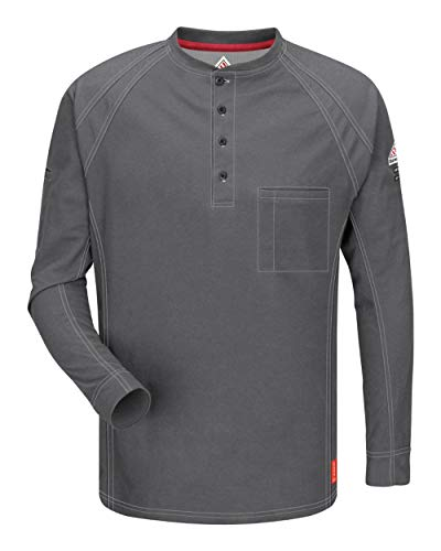 (Bulwark FR Men's QT20 iQ Series Flame Resistant Long Sleeve Henley Shirt (X-Large Long, Charcoal))