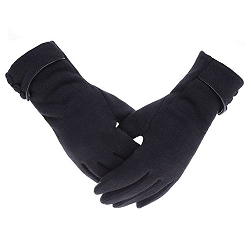Woogwin Womens Lady Winter Warm Gloves Touch Screen Phone Windproof Lined Thick Gloves (Black) - Ladies Fleece Winter Glove