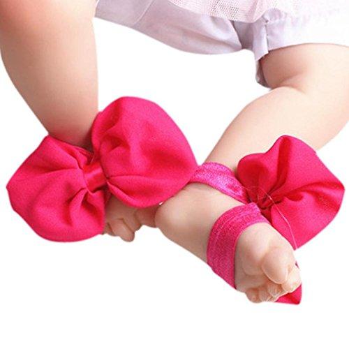 Koly 1 Par Infantil Arco Gasa Pie sandalias de playa (Gris) Rosa caliente