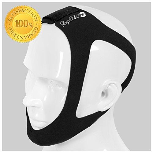 SleepWell Pro Adjustable Stop Snoring Chin Strap (Medium, Black)