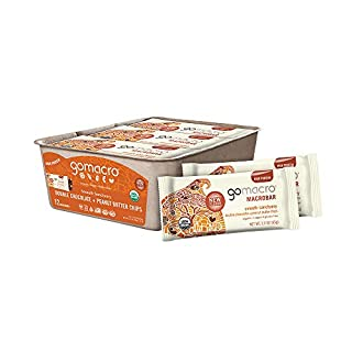 GoMacro MacroBar Organic Vegan Protein Bars - Double Chocolate + Peanut Butter Chips (2.3 Ounce Bars, 12 Count)
