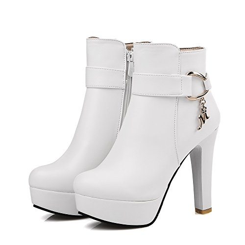 White Top Material High Soft Low Zipper Solid Heels Women's Boots Allhqfashion wxvaqUSv