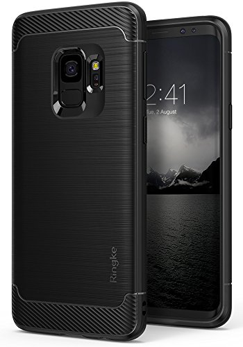 Galaxy S9 Case, Ringke [Onyx] Brushed Metal Design [Flexible & Slim] Dynamic Stroked Line Pattern Durable Anti Slip Impact Shock Absorbent Case for Samsung Galaxy S 9 (2018) - Black