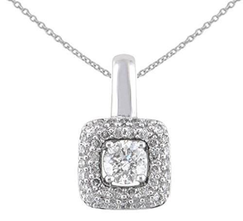 JMS Jewelry 10K White Gold Diamond Square Pendant With 18