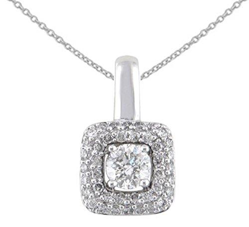 Gold Diamond Square Pendant - JMS Jewelry 10K White Gold Diamond Square Pendant With 18