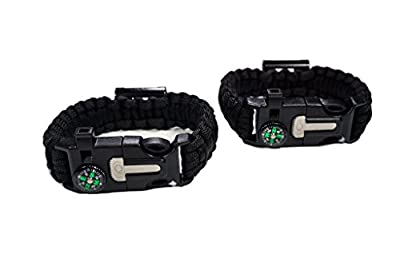 Paracord Survival Bracelet with Bottle Opener   Set of 2   Hiking Scraper, Emergency Whistle, Compass, Fire Starter, 6 in 1