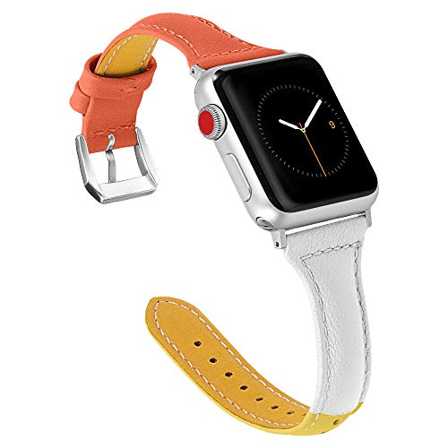 (Multaich Leather Band Compatible Apple Watch Band 38mm 40mm for Women,Candy Color Genuine Leather Wristband for Iwatch Bands)