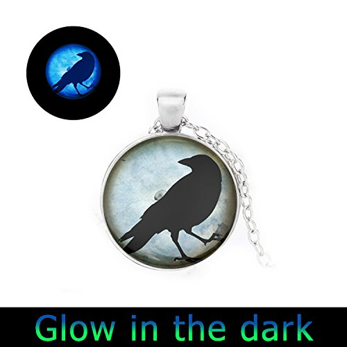 Keepsake Raven - Glowlala glow Crow Necklace Black Bird Jewelry Blue Raven Silhouette Photo necklace Charm Round Keepsake Pendant (1)
