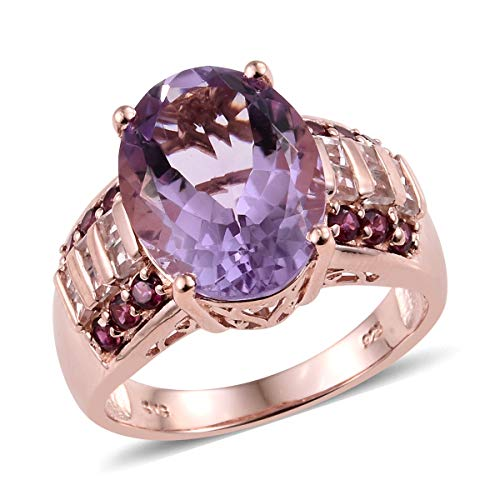 (Cocktail Ring 925 Sterling Silver Vermeil Rose Gold Rose De France Amethyst Rhodolite Garnet Jewelry for Women Size 8 Ct 8.1)