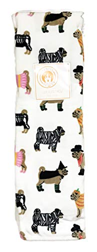 Cute Festive Bulldogs in Costume Happy Halloween Themed Soft Decorative Luxe Plush Throw Blanket ()