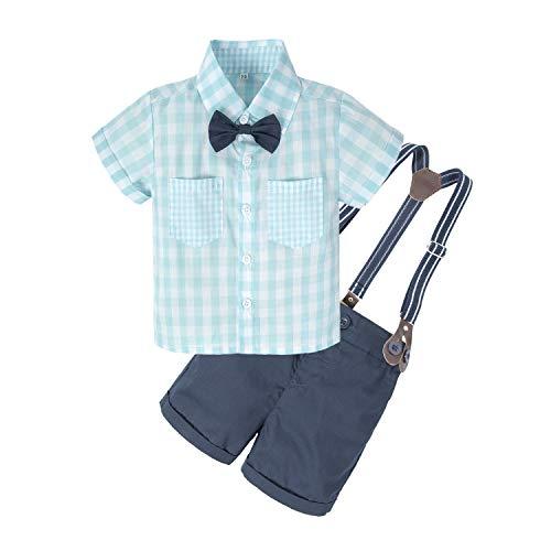 (BIG ELEPHANT Baby Boys'2 Piece T-Shirt Suspender Shorts Clothing Set NA42)