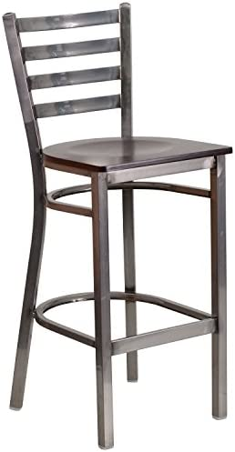 Flash Furniture HERCULES Series Clear Coated Ladder Back Metal Restaurant Barstool – Walnut Wood Seat