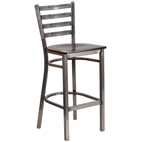 Flash Furniture HERCULES Series Clear Coated Ladder Back Metal Restaurant Barstool - Walnut Wood Seat