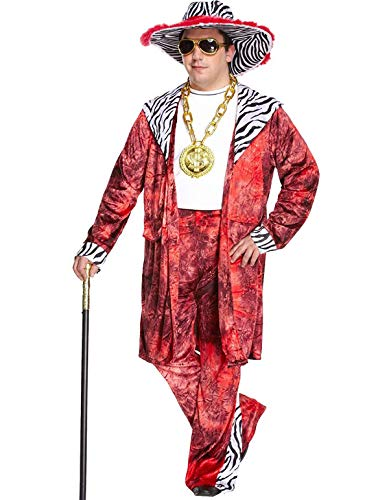 MA ONLINE Mens 1970s Fancy Raper Gangster Big Daddy Outfit Adults Fancy Dress Theme Party Costume One Size
