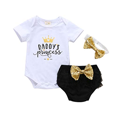 Baby Girl Newborn 3pcs Short Outfit Set Daddy's Princess Crown Romper+Lace Layer Shorts+Gold Sequins Headband (White, 0-6M) ()