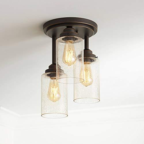 Libby Industrial Farmhouse Ceiling Light Semi Flush Mount Fixture LED Edison Oil Rubbed Bronze 9 1/2
