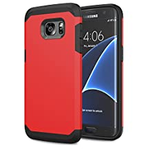 Galaxy S7 Edge Case - MoKo [Scratch Resistant] Armor Series Dual Layer Protection - Bumper Cover for Samsung Galaxy S7 Edge 5.5 Inch Smartphone 2016 Release, RED